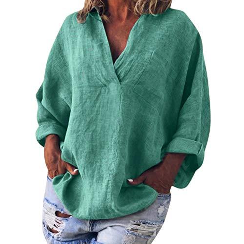 Ansenesna Chemisier Veste Blouse Printemps Pullover Gilet Sweatshirt élégant Chic Femme Hiver Sweat Blouses Pull Pull grande taille en coton et lin imitation coton et lin col V à manches longues
