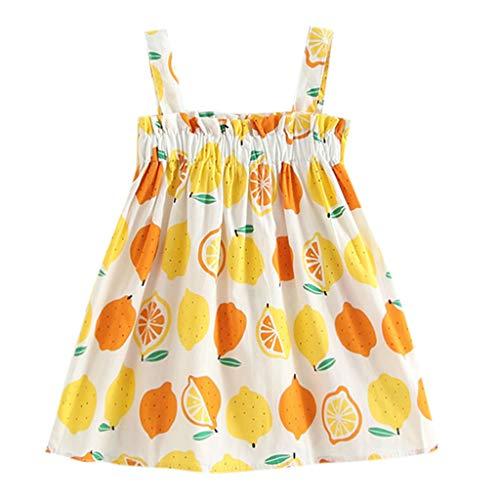 K-youth® Vestido Sin Mangas de Princesa con Estampado de limón para niños Vestido de Tirantes Niña Verano Recien Nacido Ropa Niña Bebe Fiesta Playa (Blanco, 4-5 años)