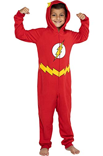 DC Comics Big Boys' Superhero Character Hooded Union Suit Footless Pajamas Costume (Flash, L/XL)