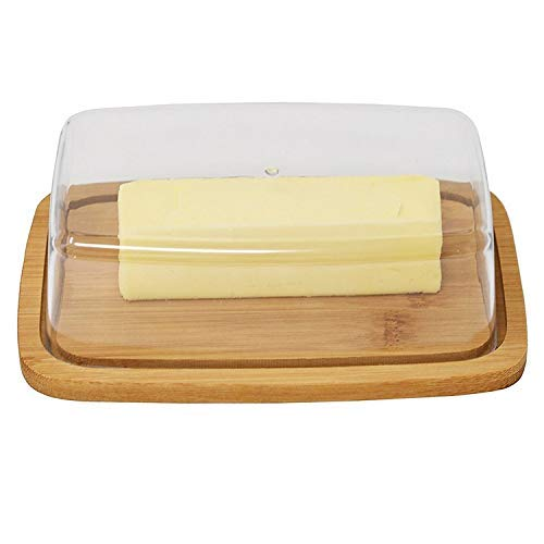 Bamboo Butter Dish With Dome Lid Cheese Server Sliced Vegetable Tray
