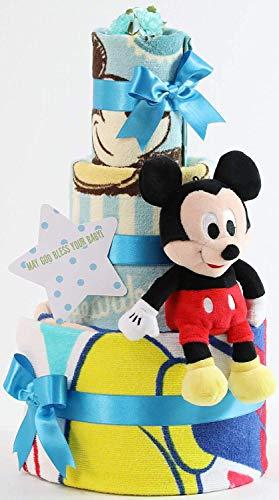 オムツケーキ 出産祝い ディズニー disney 身長計付きバスタオル 名入れ刺繍 3段 おむつケーキ ぬいぐるみ ...