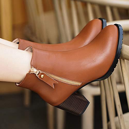 Shukun enkellaarsjes Martin laarzen damesschoenen herfst en winter dameslaarzen hoge hakken dik met laarzen herfst kleine laarzen Women'S lente