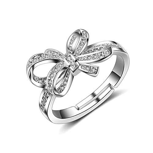 24 JOYAS Anello regolabile con fiocco in argento con zirconi 5A, regalo romantico per donna