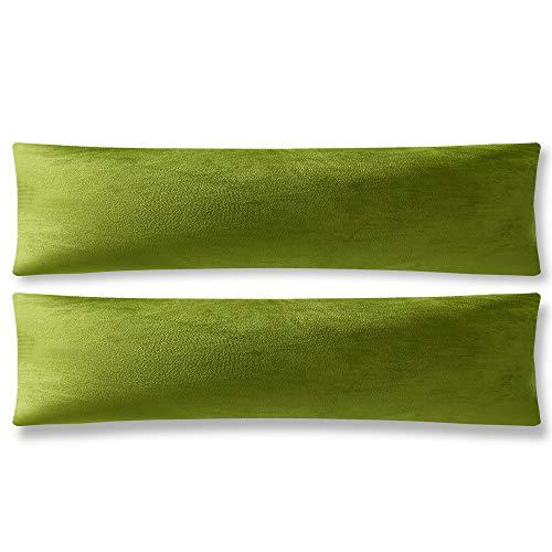 DEZENE 40cm x 145cm Gelblich-grüne Kissenbezüge: 2er Pack, Rechteckige, Dekorative Kissenbezüge aus Weichem Samt für das Sofa auf dem Bauernhof