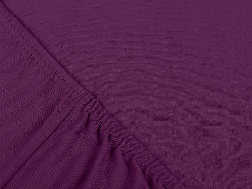 npluseins klassisches Jersey Spannbetttuch – erhältlich in 34 modernen Farben und 6 verschiedenen Größen – 100% Baumwolle, 70 x 140 cm, lila - 4