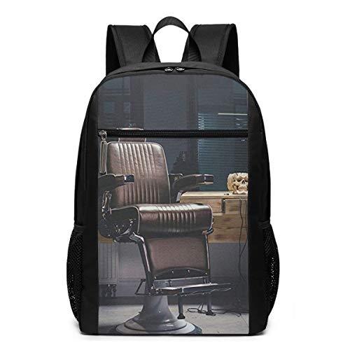 Schulrucksack Retro Weinlese Friseur Stuhl alte Schule, Schultaschen Teenager Rucksack Schultasche Schulrucksäcke Backpack für Damen Herren Junge Mädchen 15,6 Zoll Notebook