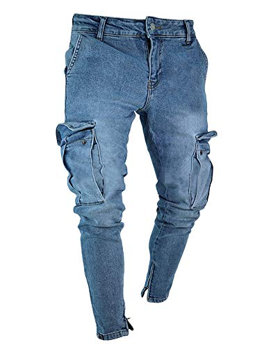 PengGengA Herren Slim-Fit Denim Cargohosen Bikerjeans Skinny Mit Stretch Jeans Hose Dunkelblau 3XL