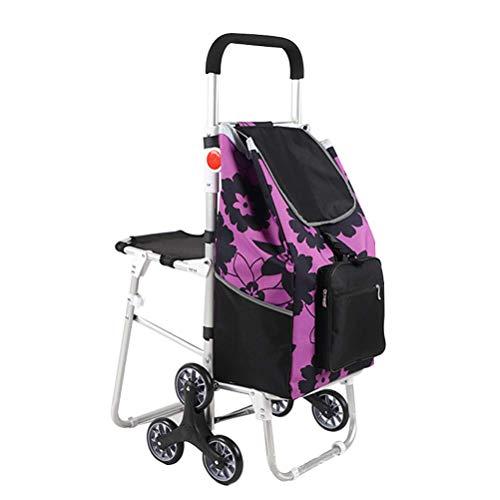 ZGYQGOO Wagen mit Sitz, Einkaufslebensmittelgeschäft-Faltbarer Wagen mit dem Treppensteigen