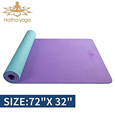 """Hatha yoga Large TPE Yoga Mat - 72""""x 32"""" x 1/4 inch -Eco Friendly SGS Certified -Non Slip Bolster with Carrying Bag for Home Gym, Pilates & Floor Outdoor Exercises (Purple/Green)"""