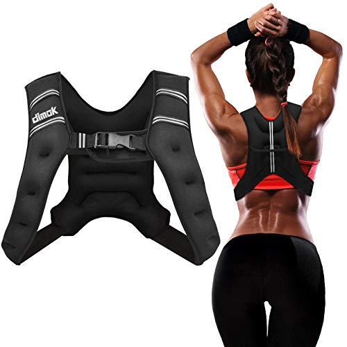 dimok Weighted Vest 12lbs Cardio Strength Workout Equipment Body Weight Vest for Running Men Women Youth (Black, 20 Pounds)