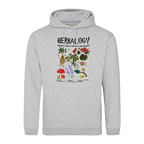 B&S Boutique Herbalogy Hogwarts School of Witchraft and Wizardy Sudadera con Capucha Gris Unisex Size M