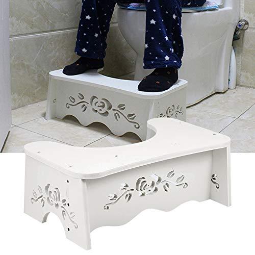 EBTOOLS Weißer hölzerner WC-Hocker squatty Potty Toilettenhocker, Wird verwendet, um die Füße anzuheben und Verstopfung zu verhindern, 49,6 x 29,5 x 5,3 cm