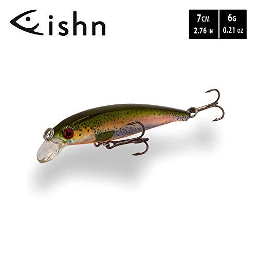 FISHINGGHOST TINYone Wobbler, Peso: 6 g, Longitud: 7 cm, señuelos Artificiales/señuelos de Pesca/wobblers para la Pesca de Peces Depredadores como el Lucio, la Perca, la Trucha (Trout)