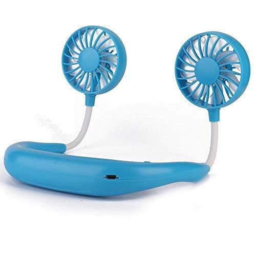 SlimpleStudio Ventilador de Refrigeración con Doble Cabeza de Viento -Ventilador de Cuello Colgante Perezoso Cocina casera artefacto Fresco al Aire Libre Mini Ventilador portátil Carga USB-Azul