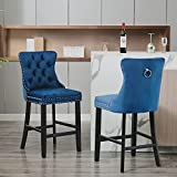 ZYLLZY Bar Stools Set of 2 Velvet Upholstered, Counter Stool Chair for Bar with Button Tufted Decoration and Solid Wooden Legs and Chrome Nailhead Trim, Leisure Style Bar Chairs Footrest, Blue