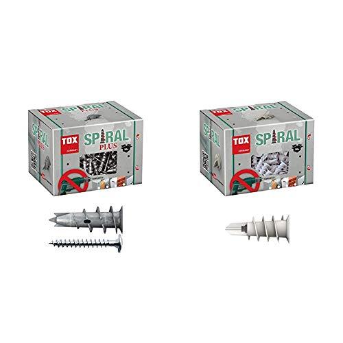 TOX Gipskartondübel Spiral Plus 37-2 mit Linsenkopfschraube 4,5 x 35 mm, für einlagige und doppelbeplankte Gipskartonplatten, 50 Stück & Gipskartondübel Spiral 32 mm, 50 Stück, 068100231
