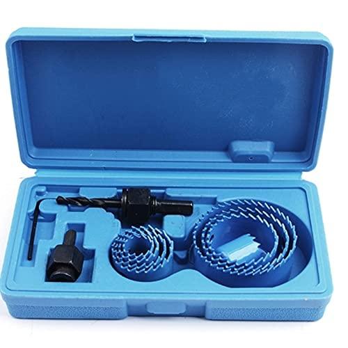 HUYANJUN Juego de sierra de orificio de 16pcs Set 45 Acero de carbono Circular Circular Taladro Redondo Corte Adaptador de Arbor for perforaciones de fundición de acero industrial (Color : Blue)