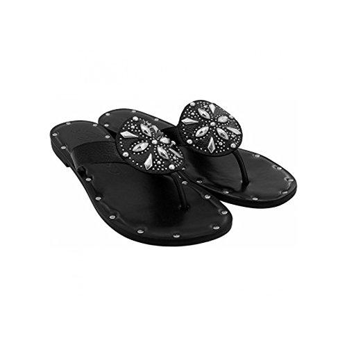 Brighton Alanis Black Leather Slide Sandal (8M)