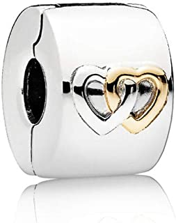 PANDORA Interlocked hearts clip in sterling silver with 14k gold heart details - 796266