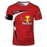 Camisa De Manga Corta De Cuello Redondo De Verano para Hombre Red Bull Camiseta De Jersey De Color De Contraste Estampado Versátil Camisa De Manga Corta Casual Deportiva Transpirable (3,3XL)