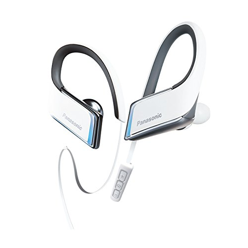 Panasonic WINGS Wireless Bluetooth In Ear Earbuds Sport Headphones with Mic + Controller and Flashing LED's RP-BTS50-W (White), IPX5 Water Resistant