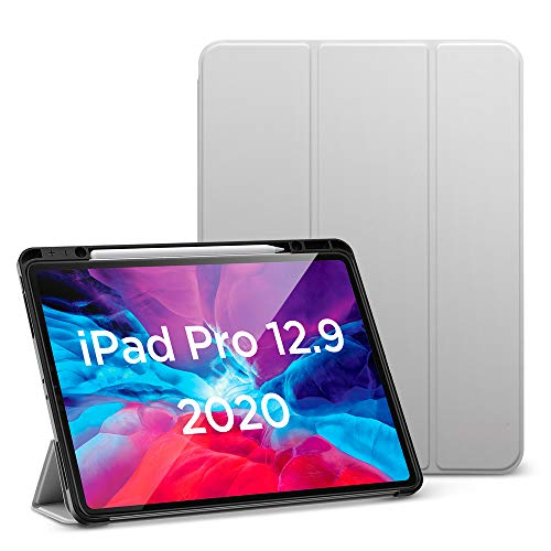 ESR for iPad Pro 12.9' Case 2020 & 2018 with Pencil Holder, Rebound Pencil iPad Case with Soft Flexible TPU Back Cover, Auto Sleep/Wake, and Multiple Viewing Stand Modes - Gray
