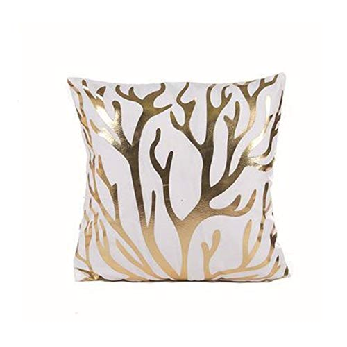BZT Black Golden Leaves Cushion Brozing Gold Foil Cushion Decorative Pillows Home Decor Throw Pillow Sofa (Color : J)