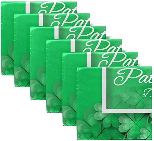 BONRI Juego de 6 servilletas de Tela Verde de Origami con trébol irlandés de Happy St Patricks Day, servilletas de poliéster Lavables para Mesa de Comedor, Bodas, Fiestas de otoño20 X20