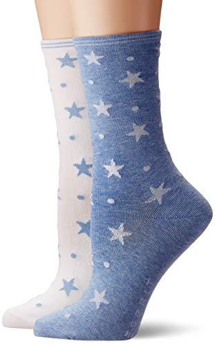 ESPRIT Damen Socken Dots & Stars 2er Pack - Baumwollmischung, 2 Paar, Weiß (Blue/White 60), Größe: 39-42