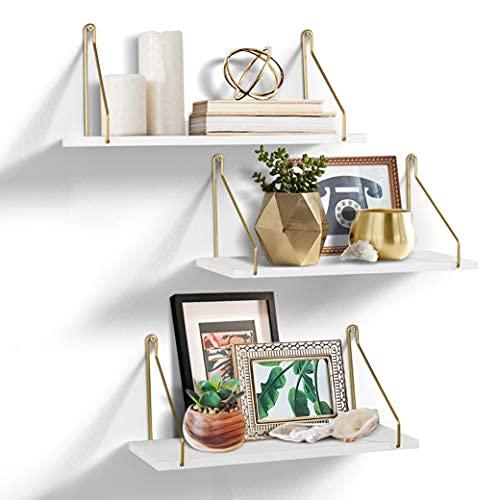 AHDECOR Juego de 3 estanterías flotantes de pared de color blanco, para salón, dormitorio, cocina y pasillo, 38 x 14 x 16 cm