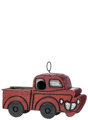 Sullivans Casa de Pássaro e Alimentador de Madeira Pendurada, Caminhão Vermelho Vintage, 26,67 cm C x 10,16 cm L x 19 cm A, Vermelho (PN2718)