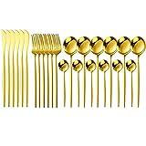 24 PCS Western Cutlery Set Cubiertos de acero inoxidable Cubiertos Juego de vajillas Cuchara Cuchilla Cuchillo Cena Conjunto Casero Casa Casa (Color : Gold)