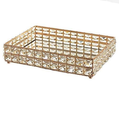 HFTD Bandeja de cosméticos Bandeja de Cristal Dorado Organizador de cosméticos Rectángulo Soporte de Maquillaje Bandeja de Servicio para perfumes, Joyas, Velas