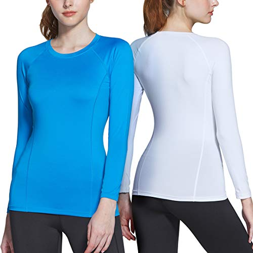 ATHLIO Women's Sports Compression Shirt, Cool Dry Fit Long Sleeve Workout Tops, Athletic Exercise Gym Yoga Shirts, 2pack(bfd21) - White/Sky, Medium