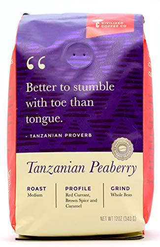 Civilized Coffee Tanzanian Peaberry Whole Bean Arabica Coffee Medium Roast, Premium Gourmet Coffee (12oz bag)