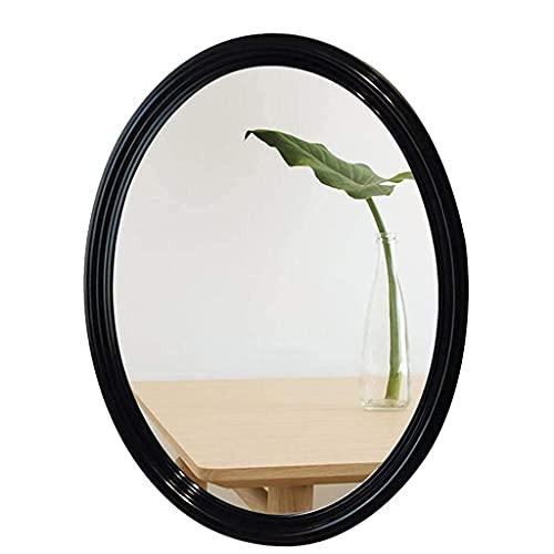 SHU Espejo, Baño, Montado en la Pared, Mesa de tocador, Espejo Elíptico/Espejo de Baño Mirada Espejo Colgante/Mirror Anti-Niebla Cuarto de baño Espejo Aseo Espejo, Blanco (tamaño : Negro)