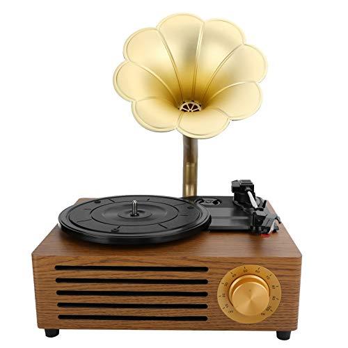 Giradischi in vinile, 3 velocità 33/45/78 giri / min Bluetooth vintage fonografo nostalgico grammofono giradischi retrò con pulsante modalità, altoparlante integrato e supporto stilo 7/10/12 pollici