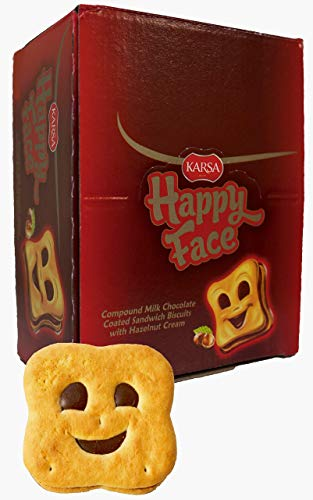 24pcs Cute Happy Face Snack for Everyday Occasions. European Chocolate with Hazelnut Filling. Individually Wrapped to Stay Fresh. Delicious with Milk/Tea/Coffee