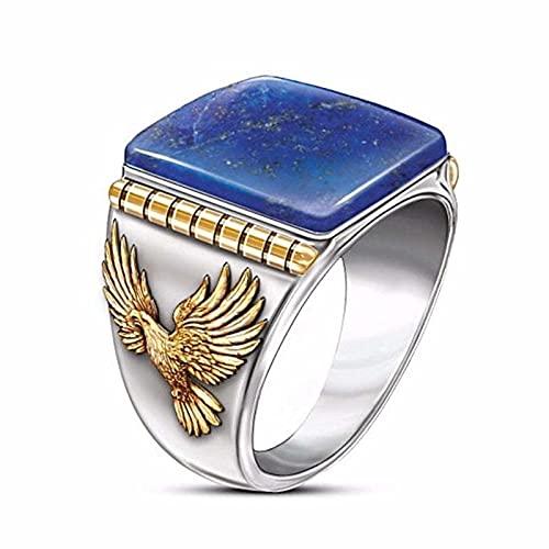 Águila dominante anillo para hombre Vintage enorme azul Lazuli piedra anillos de dedo para hombres Boho Steampunk Animal joyería 10 cian