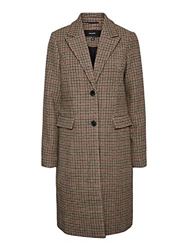 VERO MODA Damen VMBLAST Check Long Wool Jacket GA NOOS Mantel, Tan/Pattern:Houndstooth Multicolor, XL
