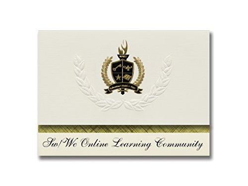 Signature Announcements Sw/Wc Online Learning Community, Marshall, MN, Schulabschlüsse, Präsidential-Stil, Grundpaket mit 25 goldfarbenen und schwarzen metallischen Folienversiegelungen