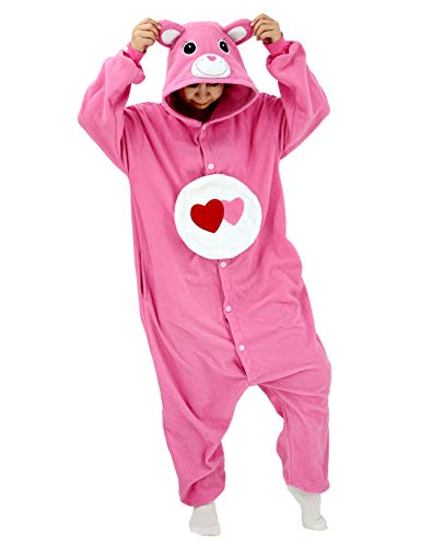 Adult Love Bear Onesie Pajamas Care Costume Halloween Animal Cosplay Homewear Sleepwear for Women and Men