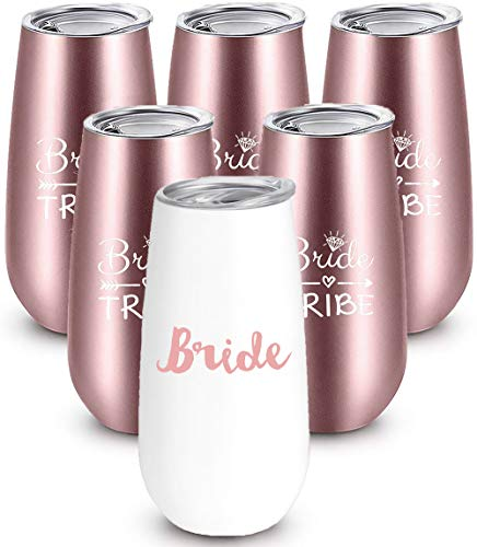 Bride to Be Champagne Flute | 6 oz Bride Tribe Stainless Steel Wine Tumblers | Engagement Wedding Gifts Bridesmaids Mugs Bachelorette Party Supplies & Games | Insulated Skinny Rose Gold Cups