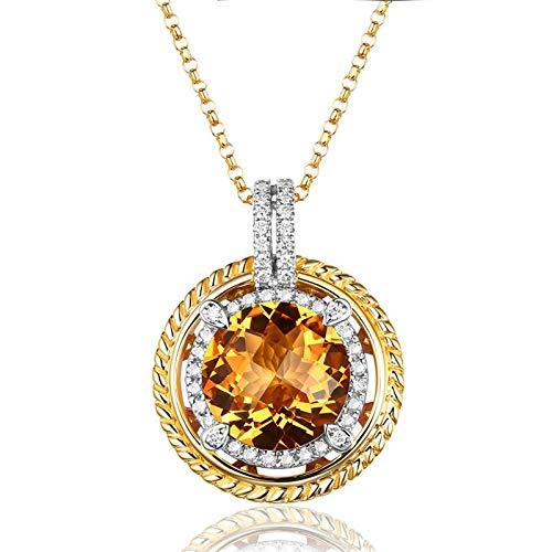 Daesar Collana Oro Giallo 750 18K 4.1ct Citrino Giallo Rotonda Collane con Diamanti Ciondolo Collana Pietracollane Donna Oro