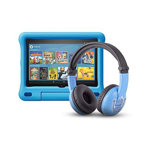 Das neue Fire HD 8 Kids Edition-Tablet (32 GB, blaue kindgerechte Hülle) mit PlayTime-Bluetooth-Headset (Altersklasse: 3-7 Jahre)
