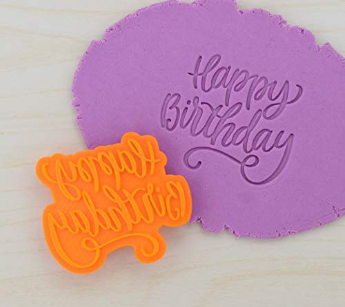 Happy Birthday Fondant Embosser Stamp 101 (2.2' x 1.9')