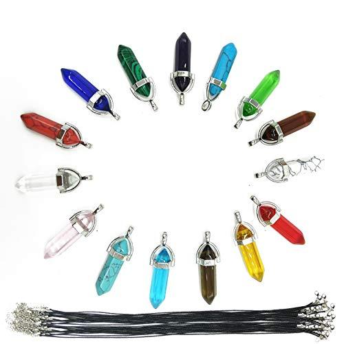TIHOOD 30PCS/Set DIY Bullet Shape Healing Pointed Chakra Beads Crystals Bullet...