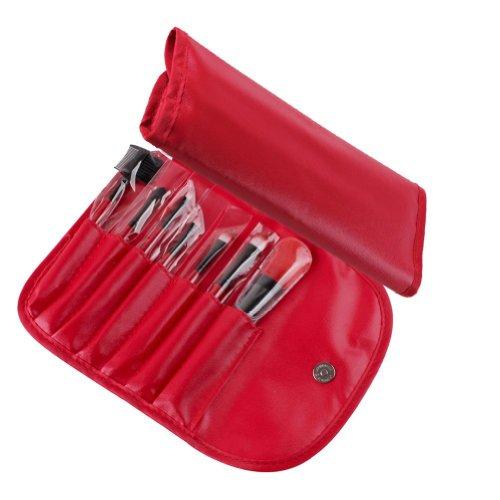 Davidsonne Professionnel Fond de Teint Poudre Blush cosmétiques Maquillage Lot de pinceaux Rouge Sac Rouge (Lot de 6)
