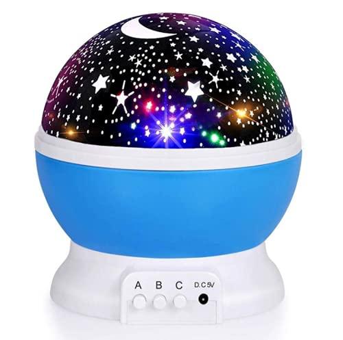 Proyección de cielo estrellado giratoria luz de noche luna estrella lámpara para niños fiesta de bebé para decoración de habitación de niños, fiesta de cumpleaños