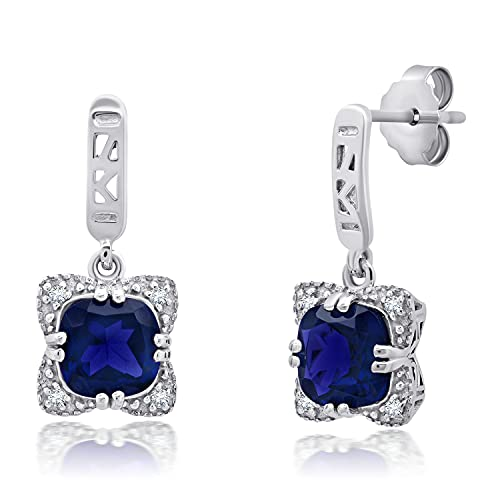 Nicole Miller Fine Jewelry - Sterling Silver with 7mm Double Prong Cushion Created Blue Sapphire Dangle Earrings
